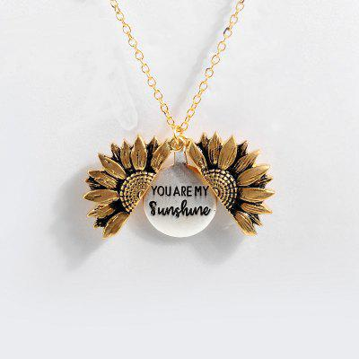 Women Gold Chain Necklace Custom You are my sunshine Open Locket Sunflower Pendant Necklace