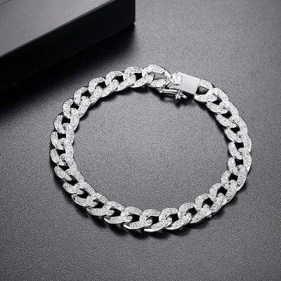 Cubic Zirconia Paved Delicate Hip Hop Curb Chain Link Chain Bracelet For Women Jewelry