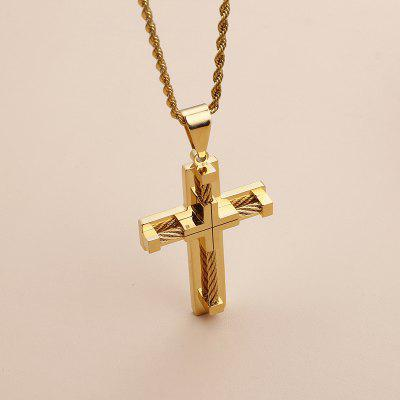 Gold Stainless Steel Wire Chain Large Biker Mens Gold Cross Necklace Pendant Necklace Chain