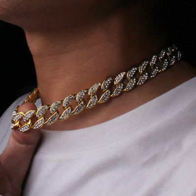 Bling Rhinestone Golden Finish Miami Cuban Link Chain Necklace Men Necklace