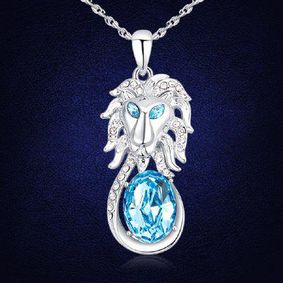 Sparkling Charms Lion Head Pendants Crystals Men Necklaces Platinum Chain