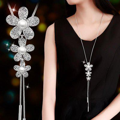 Simulated Pearl Choker Necklaces Silver Color Chain Long Necklace Pendants Jewelry Accessories