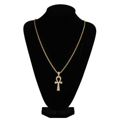 Hip Hop Gold Chain With Cross Pendant Necklaces Cubic Zirconia Long Chains for Male and Women