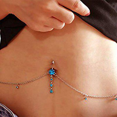 Sexy Rhinestone Dangle Belly Button Chain Navel Piercing Ring Surgical Steel Body Jewelry