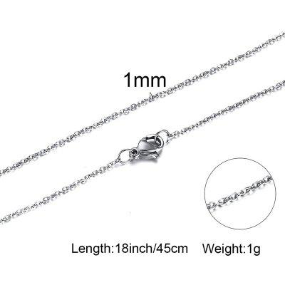 Necklace Silverly Chain Stainless Steel Choker Men Unisex Jewelry 1 - 2mm 18 Inch