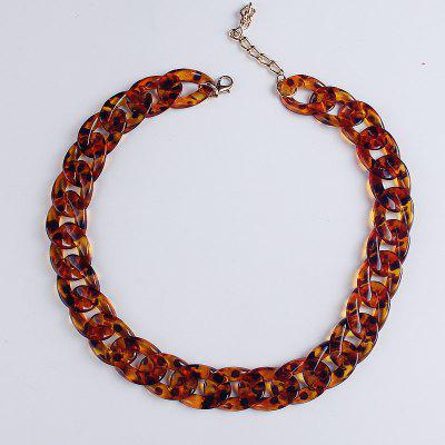 Leopard Print Gold Plated Chains Necklace Bohemian Chunky Long Collar Choker