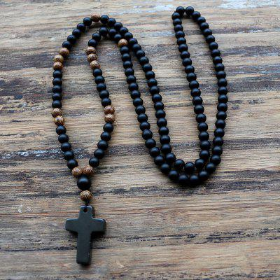 6MM Black Beads Chain Pendant Mens Rosary Necklace Mala Jewelry