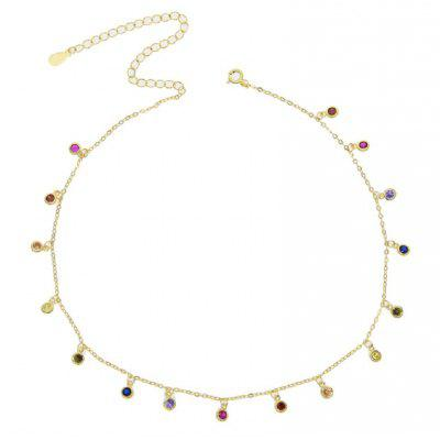 Round Bezel Drip Necklace Choker Chain 925 Sterling  Dainty Chandalier Necklace Rainbow Choker