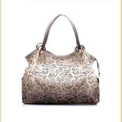 Top-handle Bags for Women Hollow Out Ombre Handbag Floral Print Shoulder Bags Diamond Chain