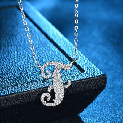 Handmade 26 Letters Pendants Chain Silver Wedding Pendant Necklace for Women