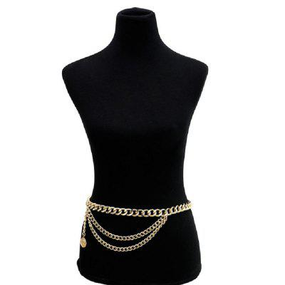 Vintage Multi Layered Harness Aluminium Belly Waist Chain Coin Pendant Body Chain for Women