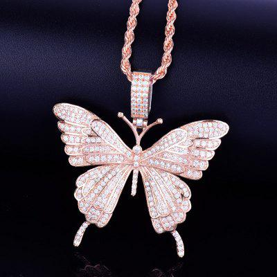 Butterfly Necklace Pendants Iced Out Tennis Chain Gold Silver AAA Cubic Zircon Hip hop Rock Jewelry