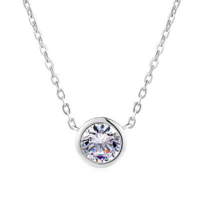 Simply Small Round Cubic Zirconia Rose Gold Color Chain Pendant Necklace