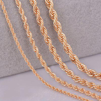 14k Gold Plated Rope Chain Necklace for Women Men Personalzied Length 2mm 3mm