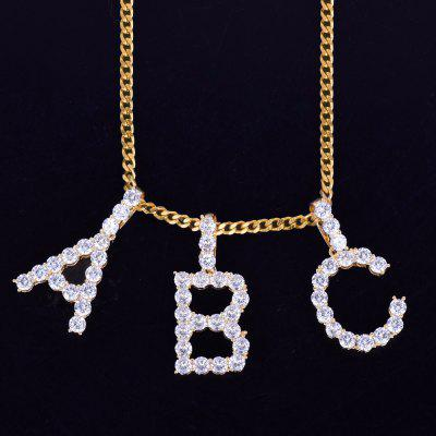 Zircon Tennis Letters Necklaces Custom Name Charm Hip Hop Jewelry with Cuban Link Chain
