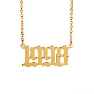 Stainless Steel Year Number Custom Necklaces Pendants Gold Silver Chain Fashion Jewelry