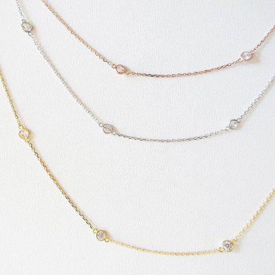 Simple Style Cubic Zirconia link 925 silver Necklaces Rose Gold Color Jewelry