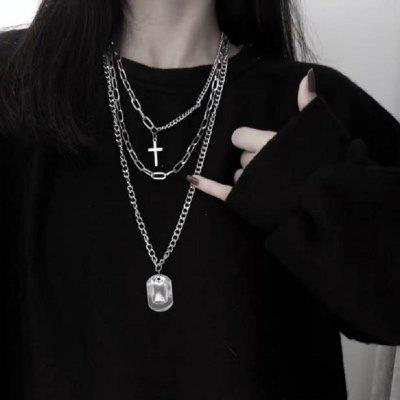 Personality Cross Square Metal Multilayer Long Chain Necklace for Women Men
