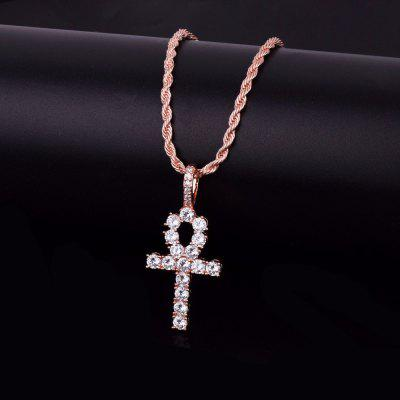 Iced Zircon Ankh Cross Pendant Gold Silver Copper Material CZ Egyptian Key of Life Pendant Necklace