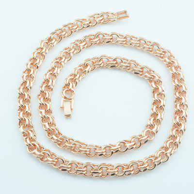 Men Big Necklace Womens Rose Gold Chain Double Curb Chain 60cm 24inch Toggle Lock