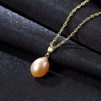 18K Yellow Gold Pendant Natural Freshwater Pearl Pendant Free 925 Necklace Chain for Women