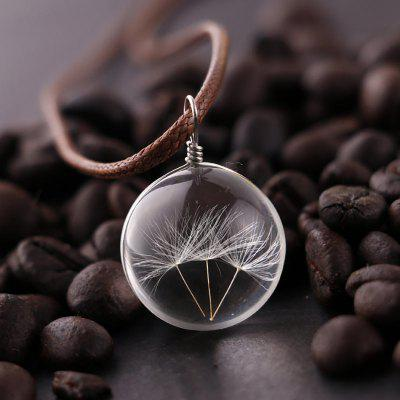 Dandelion Glass Ball Pendant Necklace Charm and Trendy Chain Transparent Lucky WISH Glass Ball