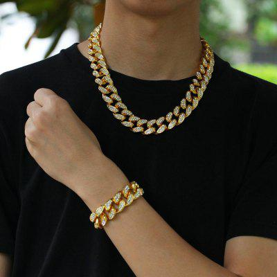 HipHop Gold Color Iced Out Crystal Miami Cuban Chains Gold Necklace Bracelet Set