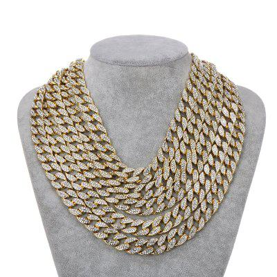 Bling Rhinestone Gold Silver Miami Curb 16 MM Cuban Link Chain Necklace Men Jewelry 16 Inch