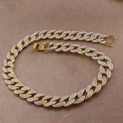 Iced Out Bling Rhinestone Golden Finish Miami Cuban Link Chains Necklace Hip hop Jewelry