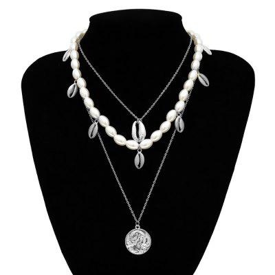 Luxury Design Imitation Pearls Choker Necklace Cross Pendant Chain Necklaces Fashion Jewelry