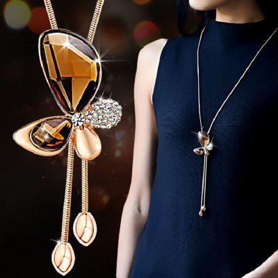 Classic Crystal Butterfly Tassel Long Gold Plated Chains Necklace Women
