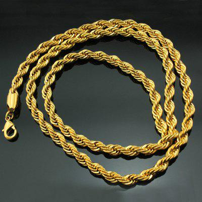 Fashion Man Male Party Birthday Wedding Gift Long 50cm Twisted Real 18KT Gold Chain Necklace