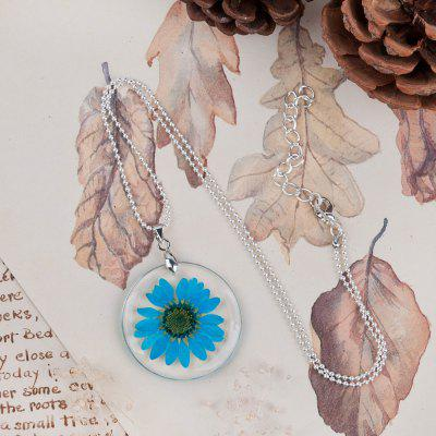 Handmade Boho Transparent Resin Dried Flower Daisy Necklace Ball Chain Silver Color and 45cm Long