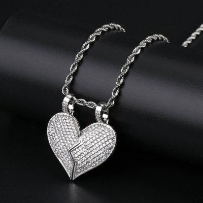 Solid Back Heart Broken With Magnet Iced Out Pendant Necklace Gold Chain