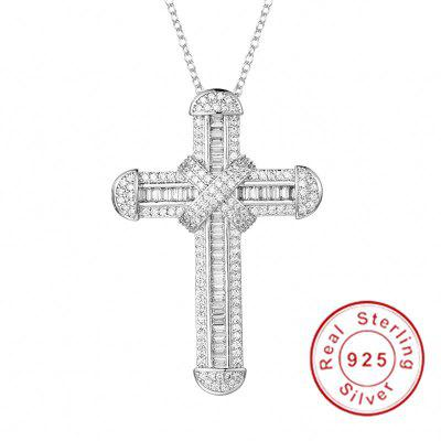 925 Silver Exquisite Cross Pendant Necklace Crucifix Charm Simulated Platinum Diamond Jewelry