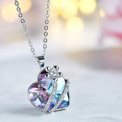 BOSCEN Crystals Swarovski Love Heart Colorful Platinum Chain For Women Girl Valentines Gift