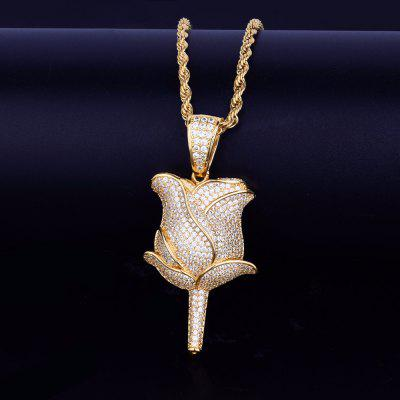 Gold Rose Flower Petals Necklace with Tennis Chain for Mens