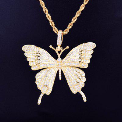Animal Butterfly Necklace Pendant Iced Out Tennis Chain Gold Silver  for Mens