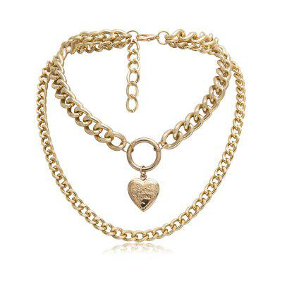 Chain Layered Heavy Necklace Open Heart Pendant Fake Gold Chains Necklace Hip Hop Jewelry Trendy