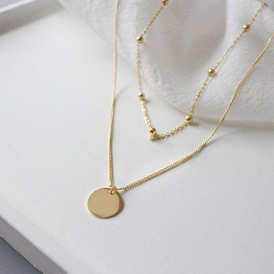 Double Layer Fake Gold Chains Women Necklace Pendant Femme Collier Necklace
