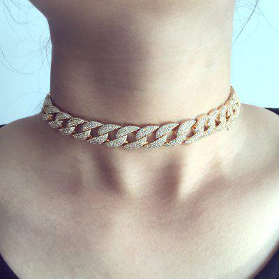 Silver Cuban Link Chain Choker Necklace Adjustable for Women Wedding