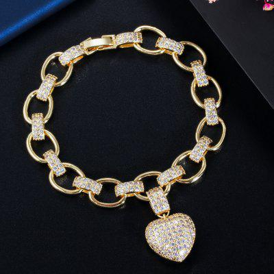 Love Heart Charm CZ Cubic Zirconia Yellow Gold Bohemian Link Gold Chain Bracelet for Women