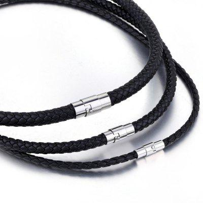Black Braided Cord Rope Chain Leather Necklace for Mens Chocker