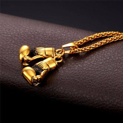 U7 Men Necklace Gold Color Stainless Steel Hip Hop Chain Pair Boxing Glove Pendant