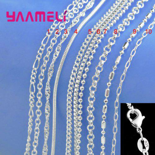 """Sterling Silver 925 Smooth Link Snake Style Necklace Neck Chain 18/"""" Inch"""