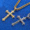 Gold tone Cross Christ Jesus Pendant Necklace Stainless Steel Link