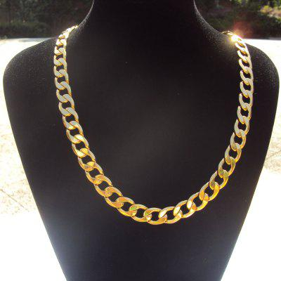 60cm 14k Solid Gold Finish Premium Quality Men Cuban Curb Link Chain Thick