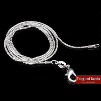 1mm Silver Plated Lobster Clasp Snake Chain 22 inch