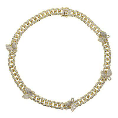 Miami Cuban link Chain Butterfly Charm Choker Necklace