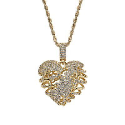 AAA Cubic Zirconia Bling Iced Out Broken Heart Chain Pendants Necklace for Men Rapper Jewelry